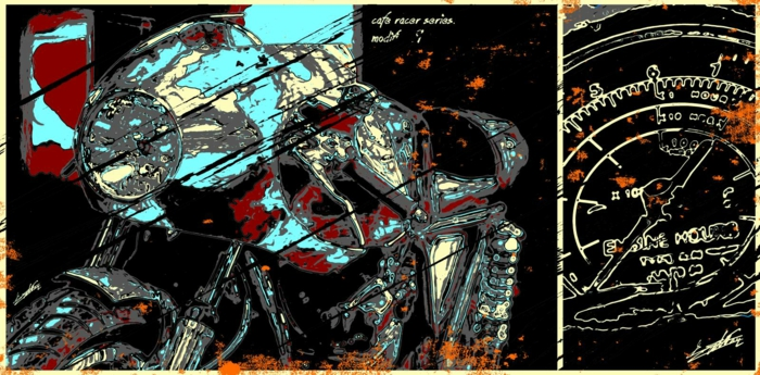 tableau peinture design moto pop art moderne