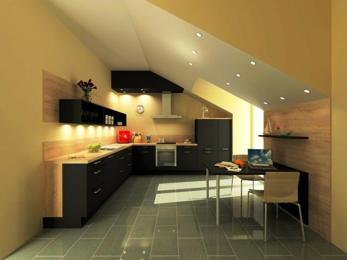 studio avec une cuisine en noir