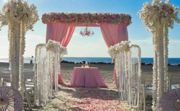 arche de mariage romantique à la plage