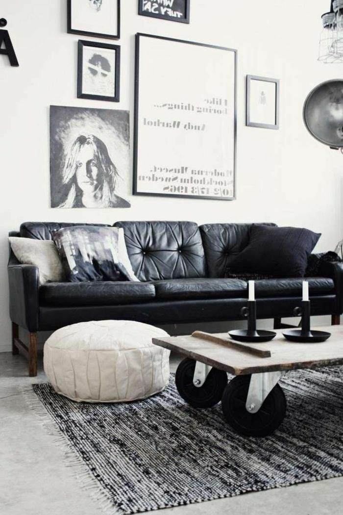 salon en noir blanc