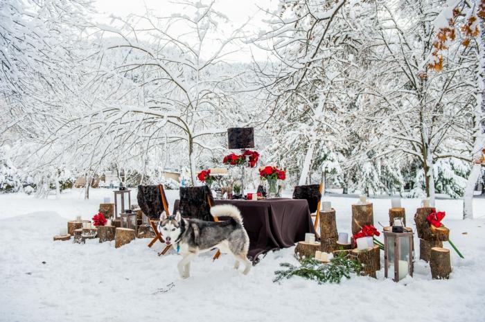 superbe décoration de mariage d'hiver