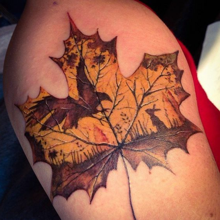 tatouage feuille d'automne