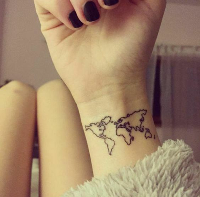 tatouage carte géographique