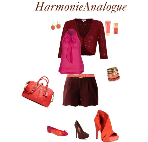 Combiner les couleurs bordeaux, fuchsia et rouge-orangé bien dans une harmonie analogue