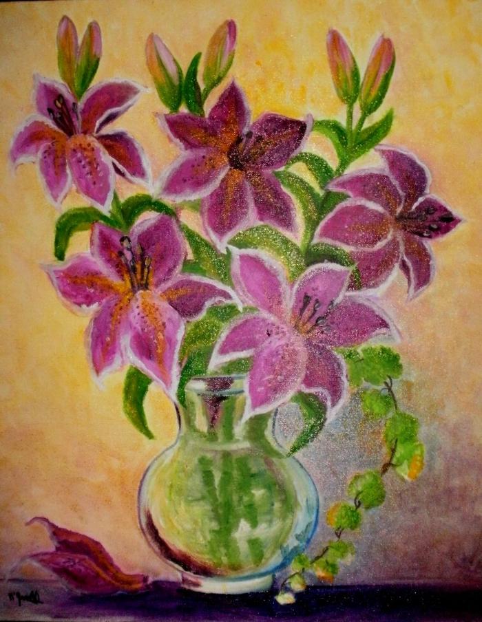peinture fleurs dans un vase