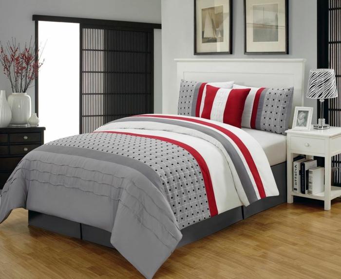 combinaison du gris avec le rouge dans la chambre à coucher