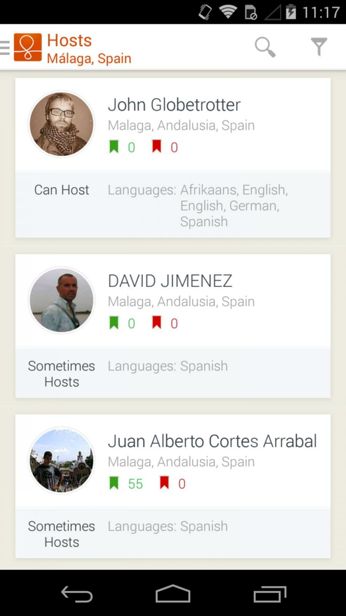 de fait couchsurfing est une application en anglais