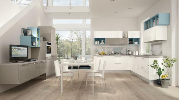 cuisine en blanc et gris bleu