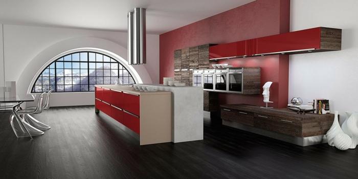 cuisine rouge en bois