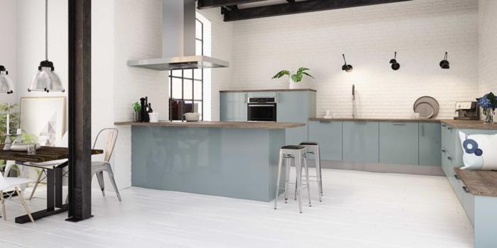 cuisine en gris bleu