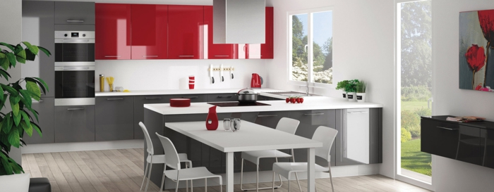 cuisine gris et rouge