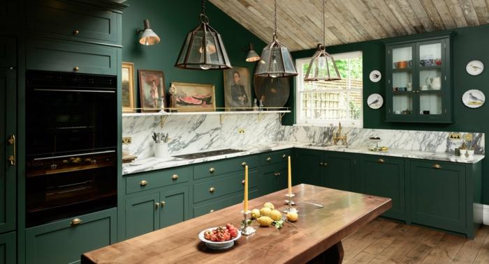cuisine vert foncé style rustique