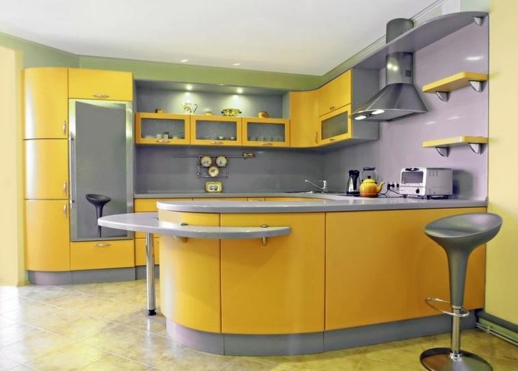 cuisine en gris et jaune très chic