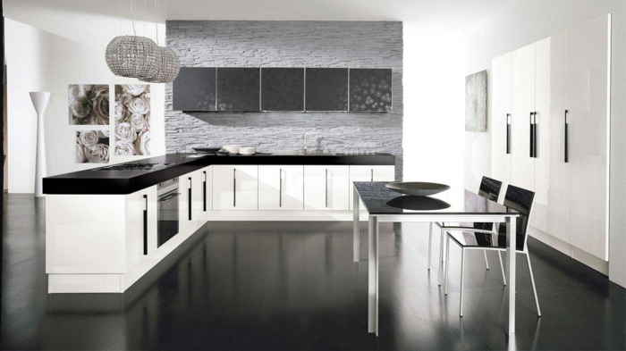cuisine luxe en blanc et noir