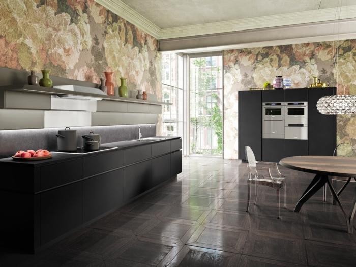 cuisine avec des murs peints