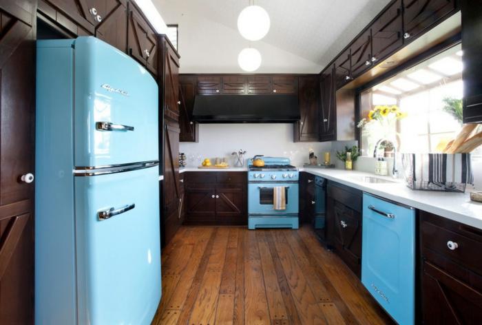 cuisine rétro en turquoise