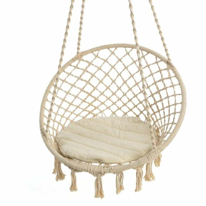 chaise hamac à suspendre avec coussin