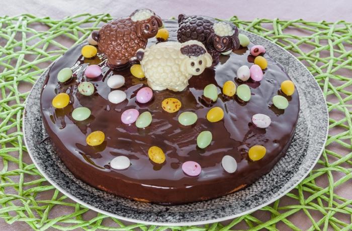 tarte au chocolat avec des agneaux
