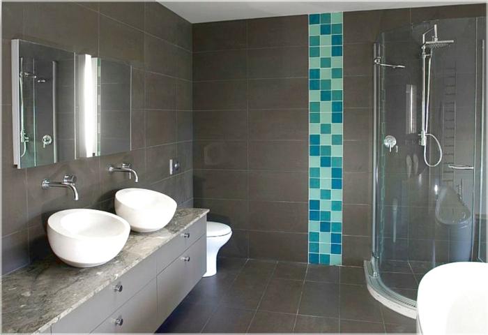 quelle couleur va avec le gris, salle de bains en turquoise et gris