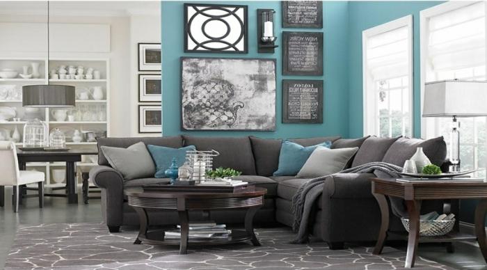 salon en gris et turquoise