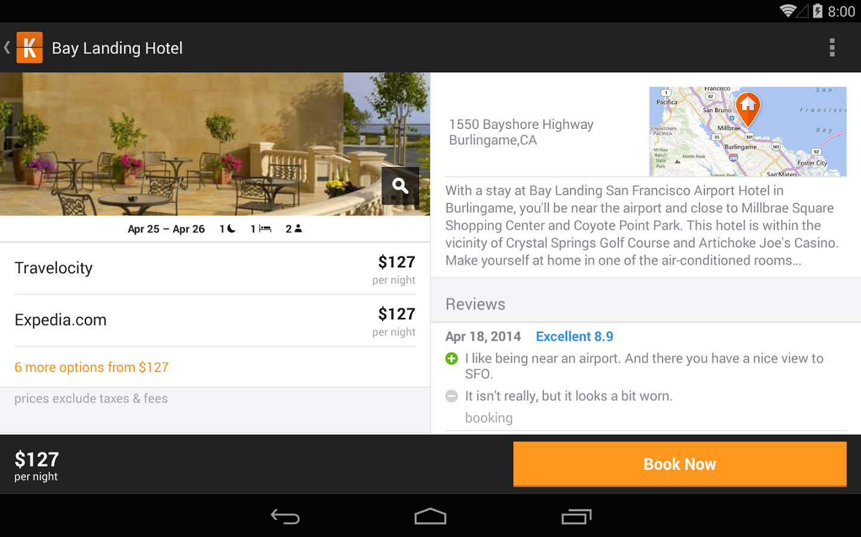 kayak appli mobile pour réserver des vols, des hotêls et autres