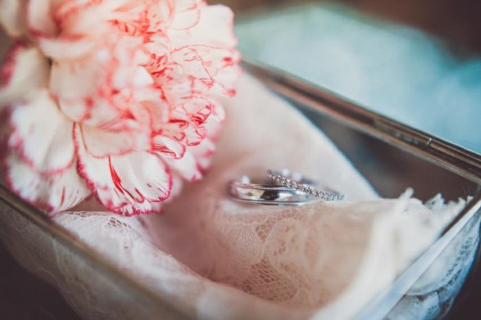 composition florale mariage, des alliances,dentelle
