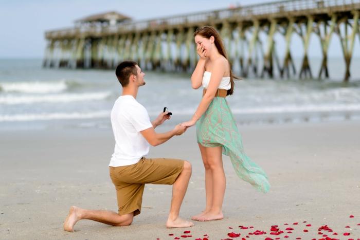 proposition de mariage à la plage