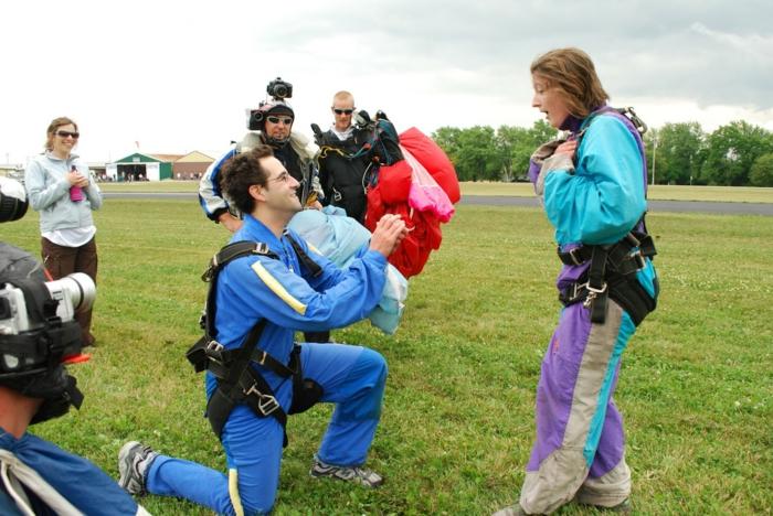 proposition de mariage après un saut de parachute