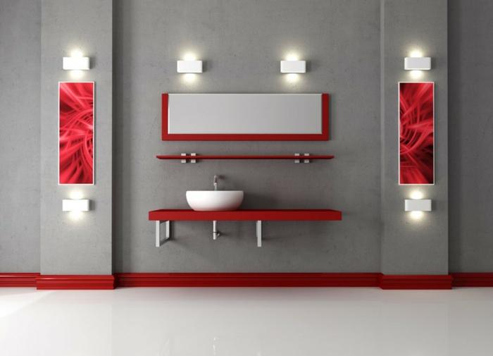 le rouge et le gris dans la salle de bains