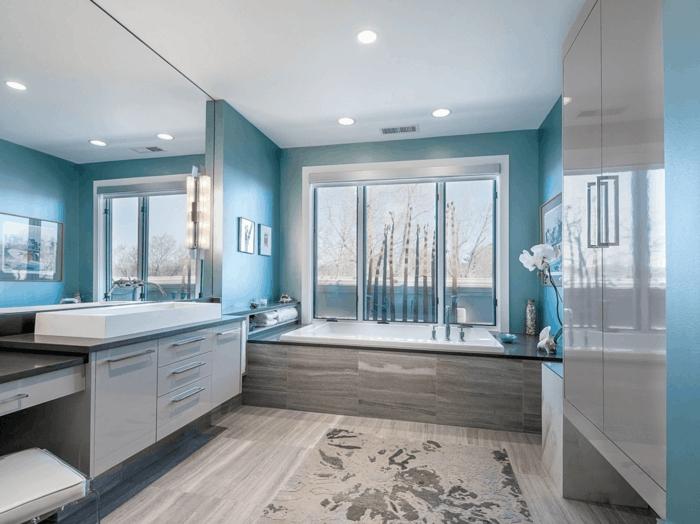 salle de bains en bleu et gris