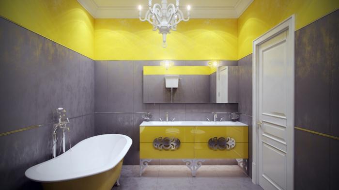 le gris et le jaune dans la salle de bains