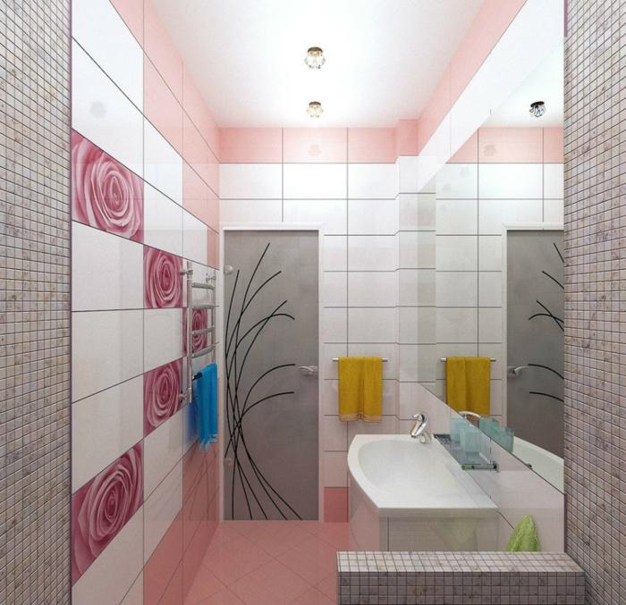 salle de bains en rose et gris
