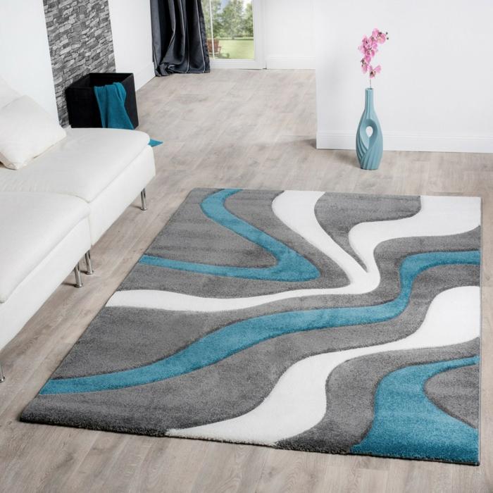 tapis shaggy en bleu et gris