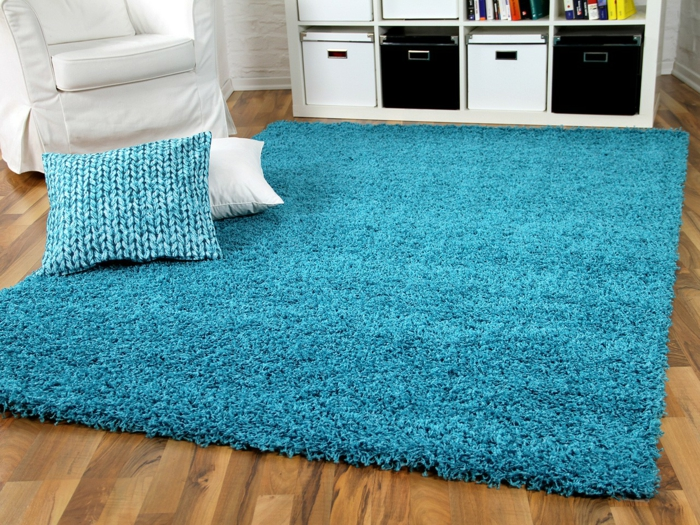 tapis shaggy turquoise
