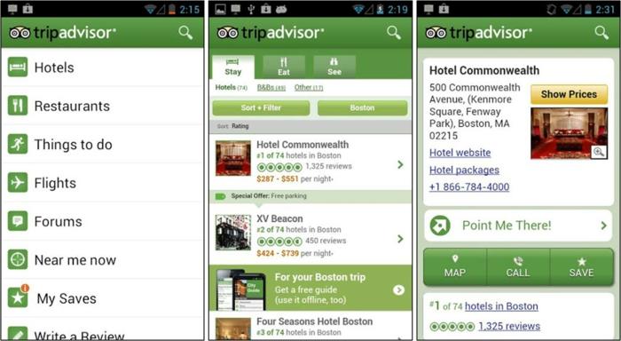 tripadvisor appli vous donne de l'info sur des villes autour du monde