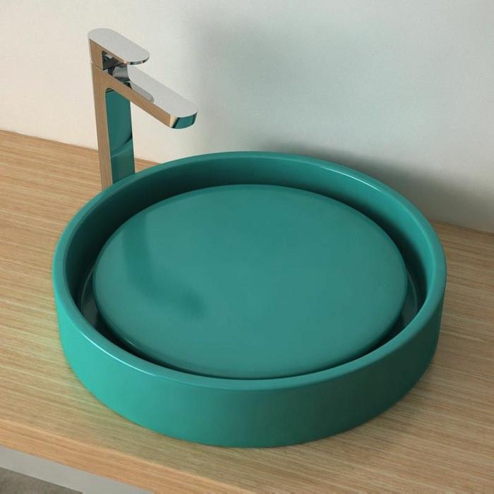 c'est par exemple une vasque à poser en céramique verte