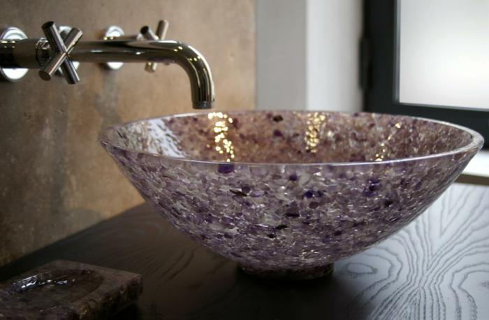 vasque résine et verre en couleur amethyste
