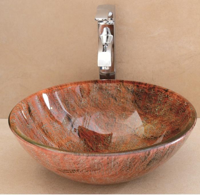 vasque ronde en verre trempé à poser