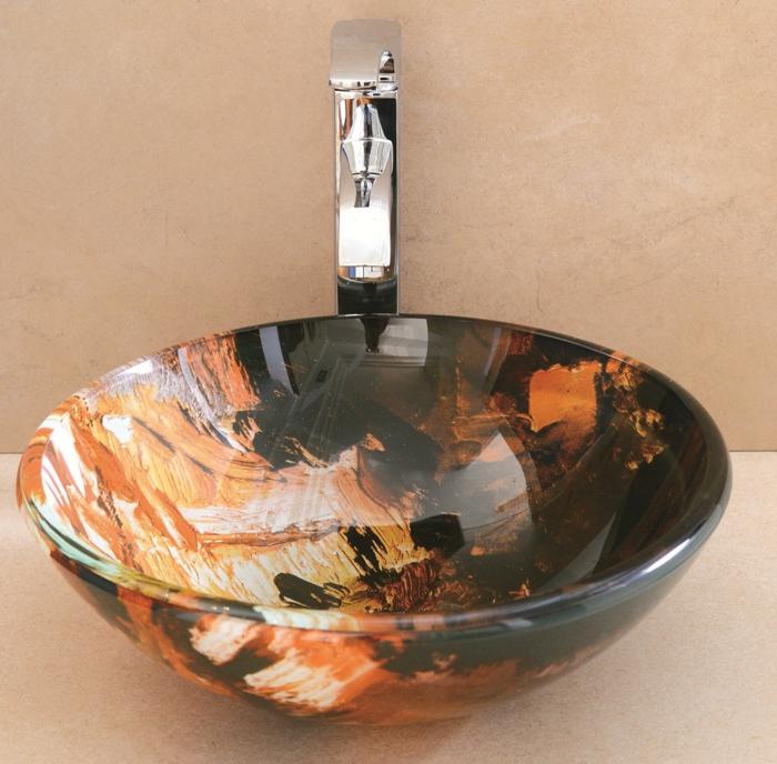 vasque ronde à poser sur un meuble de bain