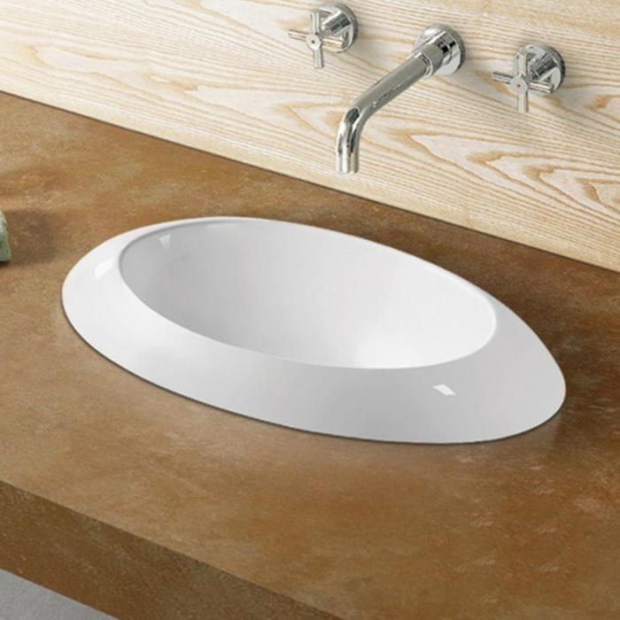 vasque semi encastrable en forme ovale de céramique