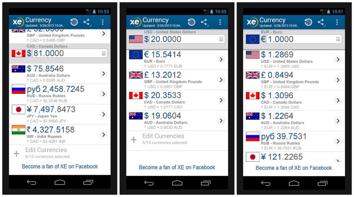 xe currency application mobile pour vos voyages privés
