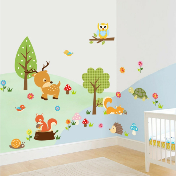 sticker chambre bébé avec animaux