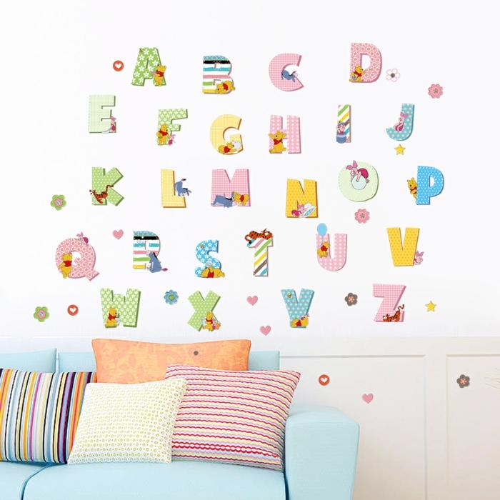 stickers chambre bébé éducatifs avec l'alpgabet