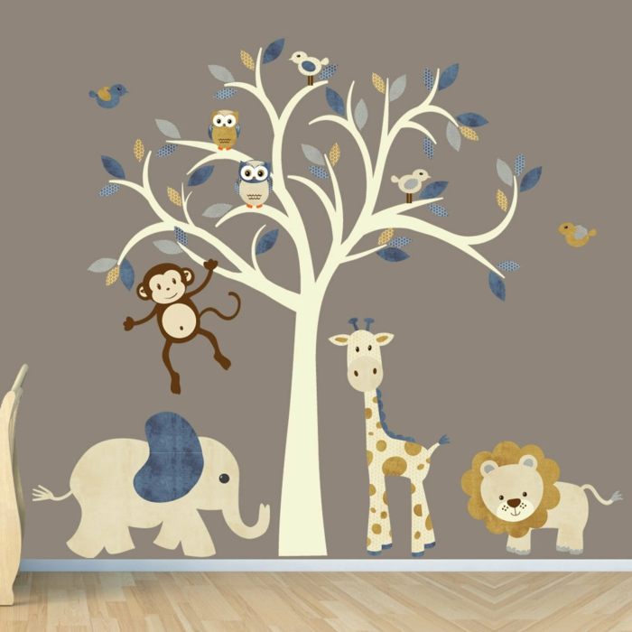 stickers chambre bébé d'animaux et oiseaux et giraffe