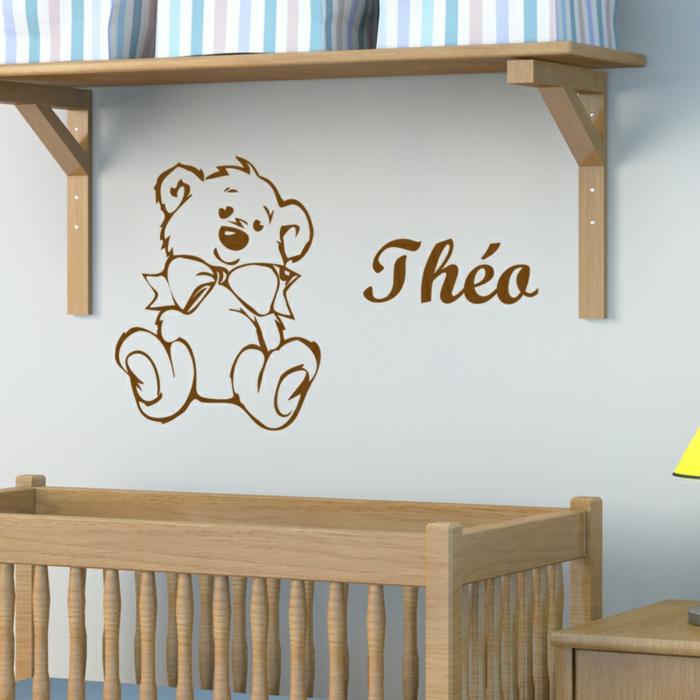 stickers chambre bébé personnalisé avec le prénom et un petit ours