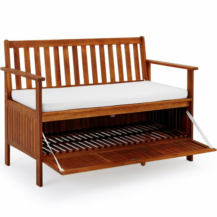 par exemple c'est un banc de jardin en bois imperméable avec coffre et coussin inclus