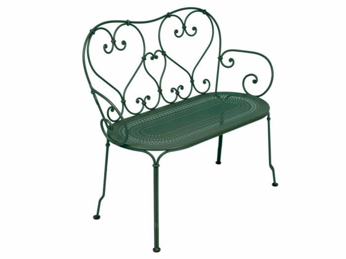 banc de jardin en acier 2 places qvec une assise perforée
