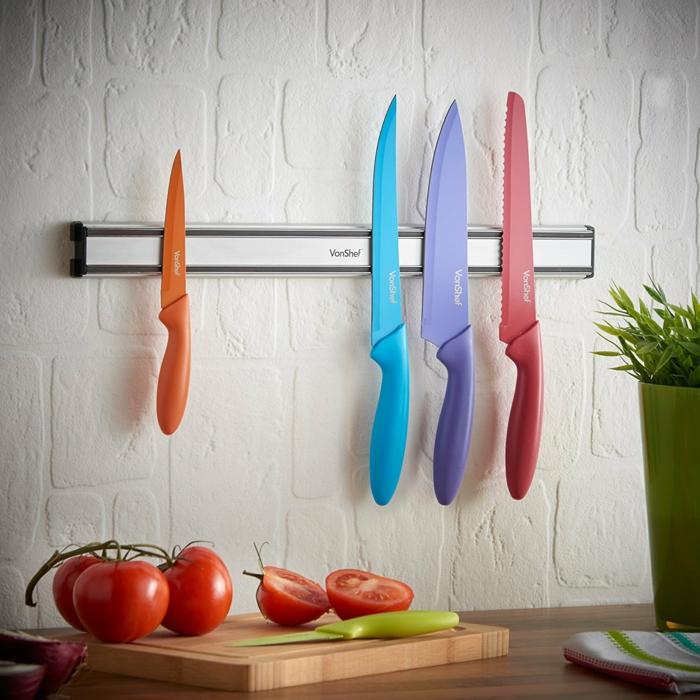 barre magnétique murale pour les couteaux