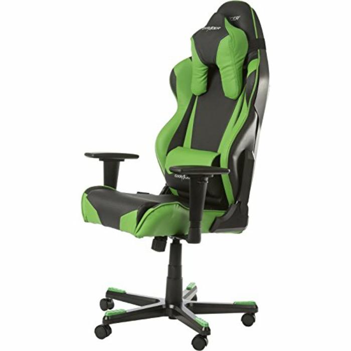 dx racer fauteuil bureau gamer en vert et noir