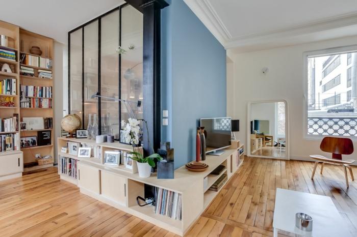 par exemple c'est un salon scandinave avec du parquet en bois